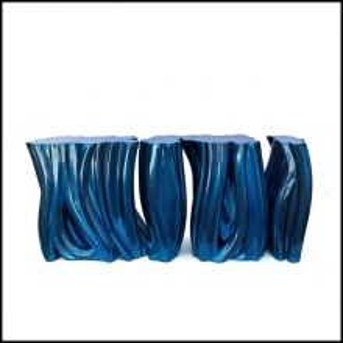 Console en fibre de verre avec mousse de polyuréthane laquée et vernis à la main 145-Electric Blue