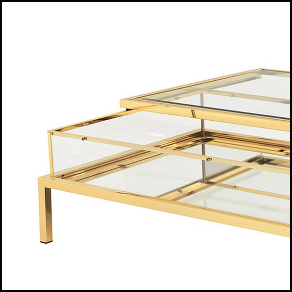 table basse avec structure finition gold avec verre miroir et plateau de dessus coulissant en. Black Bedroom Furniture Sets. Home Design Ideas