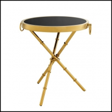 Side table in gold finish or in polished stainless steel finish with black glass top 24-Omni