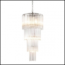 Chandelier in carved clear glass on polished nickel finish structure 24-Montana M-L