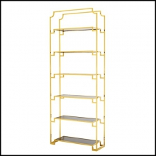 Bookshelves with structure in gold finish and smoked glass shelves 24-Stantord Large