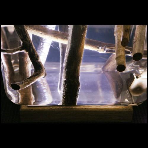 Etagère avec structure finition Gold et étagères en verre clair 24-Romain
