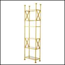 Bookshelves with structure in gold finish and six shelves in clear glass 24-Romain