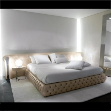 Bed with structure in steel or bronze upholstered with fabric 150-Yaton