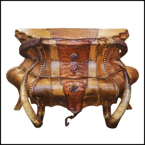 Table basse avec plateau plaqué chêne et pieds en acier 152-Cross