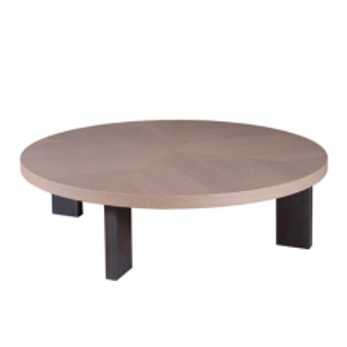Table basse avec plateau plaqué chêne et pieds en acier 152-Luna