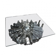 Coffee table with Pratt & Whitney engine, nine-cylinder and OHV PC-Junker JU52