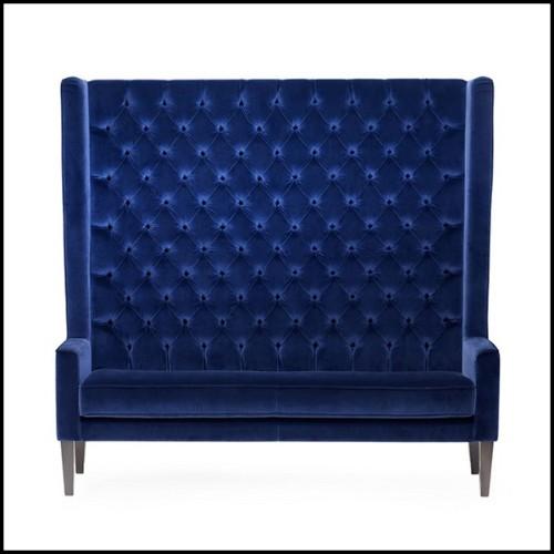 Chaise en acier brossé et assise en coton noir 09-Flower