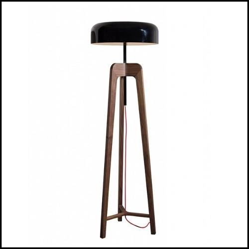 Tabouret de bar en acier avec assise marron en bois 09-Industry Bois