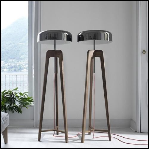 Tabouret de bar en acier avec assise marron en cuir 09-Industry Cuir